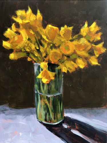 Happy Daffi's, 8x6 Acrylic painting by Kelley MacDonald