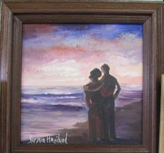 Couple Strolling, oils canvas, Barbara Haviland, Artist of Texas