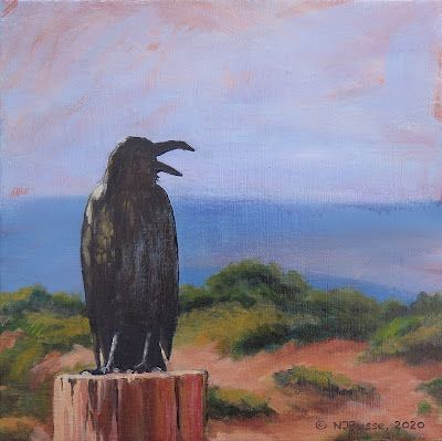 """Raven, Bird, Contemporary Wildlife Painting, Fine Art Painting """"Raven on the Rez"""" by Colorado Artist Nancee Jean Busse, Painter of the American West"""