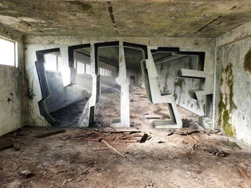 Painted Interventions by Vile Burst Flat Walls into Three Dimensional Spaces