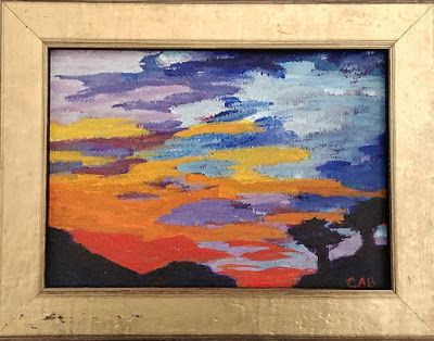 """Contemporary Art, Skyscape Painting, Abstract Sky, """"A Sky of Endless Color"""" by Arizona Abstract Artist Cynthia A. Berg"""