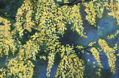 "Contemporary Floral Painting, Nature, Tree Blooms, ""GOLDEN MOMENT"