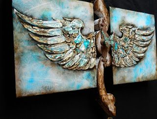 """Free to Dream"", Original Mixed Media/Assemblage Painting by Colorado Artist, Donna L. Martin"