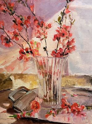 """Quince in Bloom"" Still life oil painting by Robin Weiss"