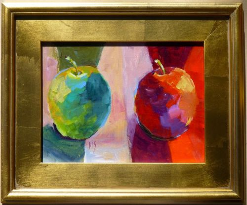 Apples and More Apples, Acrylic Still Life for the OPOMAC Gallery Show in Graham TX