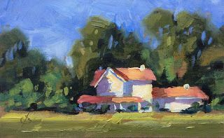 FARMHOUSE, MINIATURE OIL PAINTING by TOM BROWN