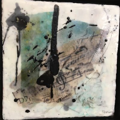 "Encaustic Abstract Art, Mixed Media, Contemporary Painting, ""Life is Music"" by Texas Contemporary Artist Sharon Whisnand"