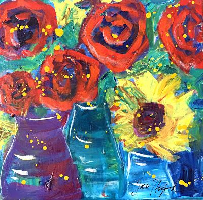 "Roses, Expressive Floral Painting, Colorful Original Flower Art, ""GLAD YOU'RE HERE"" by Texas Contemporary Artist Jill Haglund"