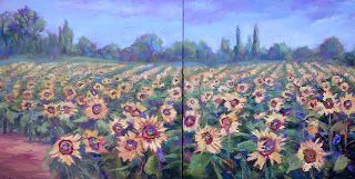 Sunny Flowers, New Contemporary Landscape Painting by Sheri Jone