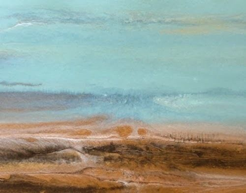 "Contemporary Seascape Painting ,Abstract Beach Art, Coastal Decor ""A Quiet Day VI"" by Colorado Artist Kimberly Conrad"