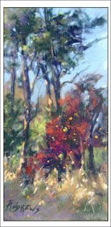 Tall Trees and Red Bud..Pastel..Texas Artist..Rae Andrews