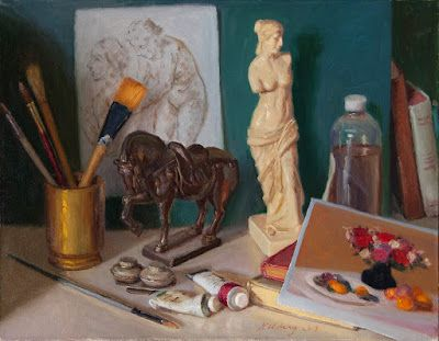 Still life painting original contemporary realism horse statue art materials