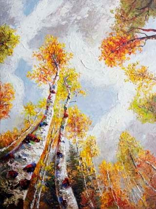 """Reclining Thoughts II"" Textured Aspen Tree painting by Texas Artist Niki Gulley"