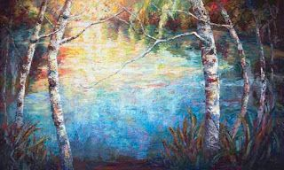 """Aqua Dreams"" Palette Knife Oil Painting by Contemporary Impressionist Niki Gulley"
