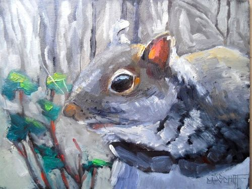 Painting Wildlife, Grey Squirrel Oil Painting, Daily Painting, Small Oil Painting, SOLD