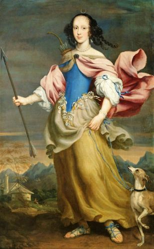 1666 Allegory of Diana Goddess of the Hunt with faithful Dog