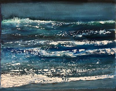 "Abstract Seascape Painting ""Night Surf"" by California Artist Cecelia Catherine Rappaport"