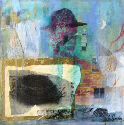 "Mixed Media Abstract Painting, Collage ""He Had a Mysterious Past"" by Intuitive Artist Joan Fullerton"