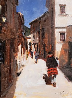 """""""Mother and Child"""" Village of La Beaux, France; oil painting by Robin Weiss"""