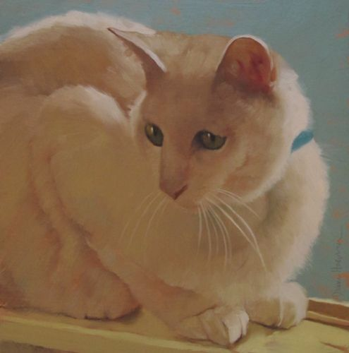 Mercy, painting of a white cat