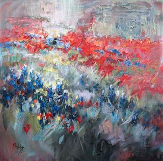 """Symphony in Springtime"" - New Abstract Texas Wildflower Painting by Niki Gulley"