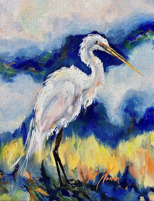 "Impressionist Fine Art Oil Painting, Wildlife, Heron, Marsh Bird ""Enlightenment"" by Georgia Artist Pat Warren"