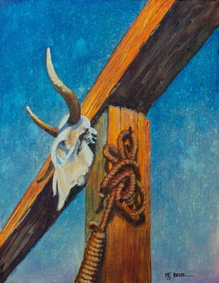 """Contemporary Western Painting, Architecture, """"Skull and Noose"""" by Colorado Artist Nancee Jean Busses, Painter of the American West"""