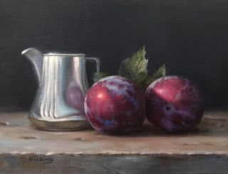 Two Plums and Silver Creamer - SOLD