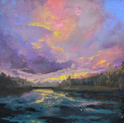 "Contemporary Landscape Fine Art Oil Painting, Sunset, Red Sky ""Sunset From the River"" by Colorado Artist Susan Fowler"