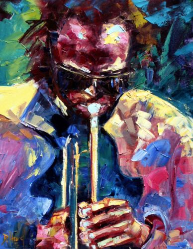 "Abstract Jazz Art Music Painting ""Miles of Jazz-Miles Davis"" by Texas Artist Debra Hurd"