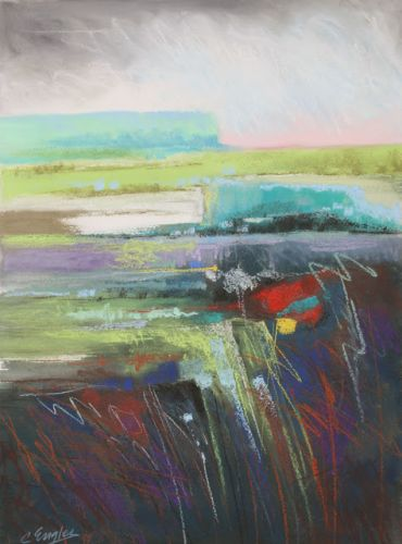 Aqua Bluff and Field, abstract landscape by Carol Engles