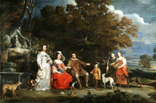 The 17C Family Portrayed in their Garden Park near a Statue Fountain