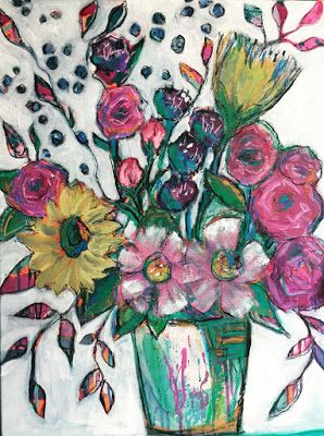 """Expressive Still Live Floral Painting, Colorful Original Flower Art, """"PARTY TIME"""" by Texas Contemporary Artist Jill Haglund"""