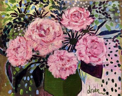"Bold Expressive Still Life Art Painting ""May Peonies"" by Santa Fe Artist Annie O'Brien Gonzales"