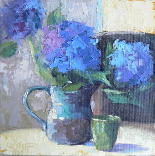 Hydrangea Painting, Blue Floral Painting, Still Life Painting, Daily Painting, Small Oil Painting, Palette Knife Painting, SOLD
