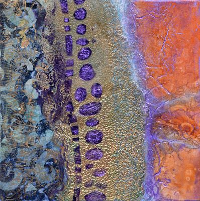 "Contemporary Abstract Mixed Media Painting ""The Outer Rings"" by Santa Fe Contemporary Artist Sandra Duran Wilson"