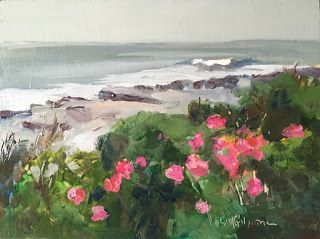 Day 4 of 30 in 30 Paintings Beach Roses