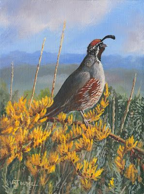"Bird Painting, Quail, Wildlife Art, Fine Art Painting ""Good Morning!"" by Colorado Artist Nancee Jean Busse, Painter of the American West"