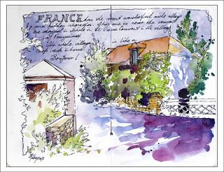 France trip Journal Entry..Watercolor..Texas Artist..Rae Andrews