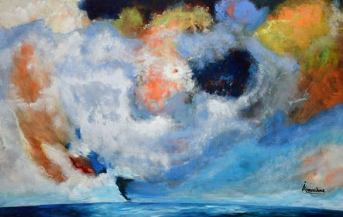 """Contemporary Abstract Seascape Painting """"Rebirth"""" by International Seascape Artist Arrachme"""