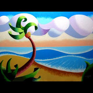 Mark Webster - Abstract Geometric Landscape Ocean Oil Painting