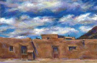 "2 DOORS + WHITE CLOUDS - 6 "" x 9"" southwest pastel landscape by Susan Roden"