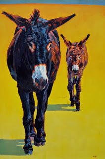 "Colorful Contemporary Donkey Art, Burro Painting Farm Animal ""Tag Along"" by Contemporary Animal Artist Patricia A. Griffin"