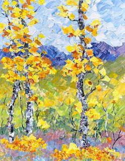 "Impressionist Aspen Tree Landscape Painting, Palette Knife Painting ""Colorado Colors-Aspens"" by Colorado Impressionist Judith Babcock"