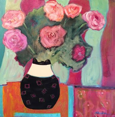 """Contemporary Expressionist Still Life Fine Art Painting,Roses """"STRIPES"""" by Oklahoma Artist Nancy Junkin"""