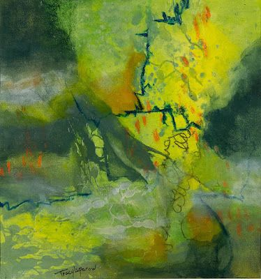 "Green Art, Mixed Media Abstract Painting, Contemporary Art, Expressionism, ""Flaming Gorge"" by Contemporary Artist Tracy Lupanow"