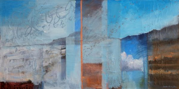 'the day was filled with insight' oil & mixed media contemporary winter landscape by dawn chandler