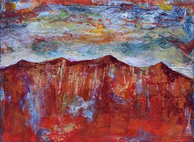 "BOGO - Abstract Landscape Painting, Mixed Media, Contemporary Art ""Sunset Mountains"" by Santa Fe Contemporary Artist Sandra Duran Wilson"