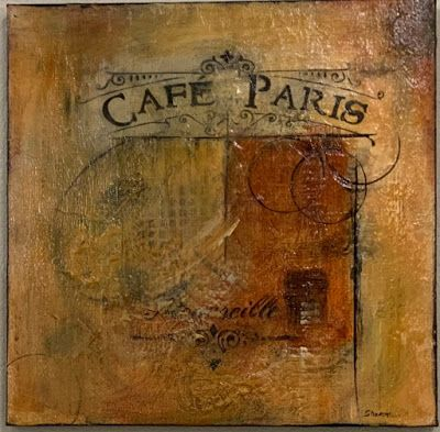 "Abstract Art, Contemporary Painting, ""Cafe Paris"" by Texas Contemporary Artist Sharon Whisnand"