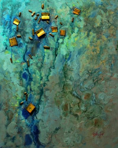 "SUMMER SALE- Mixed Media Abstract Painting, ""Sunken Treasure"" © Carol Nelson Fine Art"